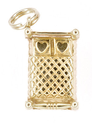 Vintage 4 Poster Bed Charm Pendant in 14K Gold with Heart Pillows - Item: C765 - Image: 1