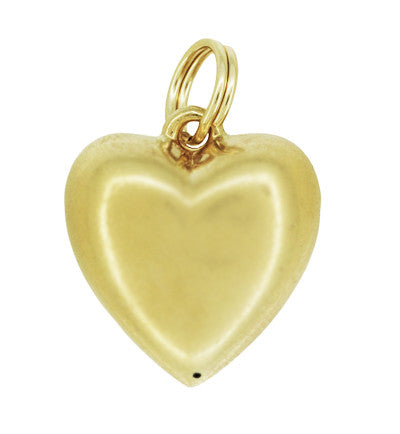 Vintage Victorian Puffed Heart Charm Pendant with Diamond in 14K Yellow Gold - Item: C772 - Image: 1