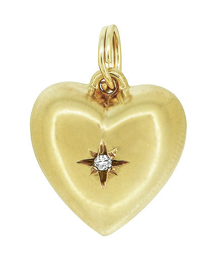 Vintage Victorian Puffed Heart Charm Pendant with Diamond in 14K Yellow Gold