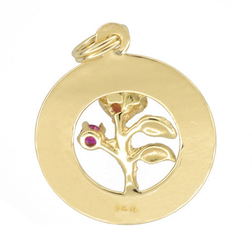 1960's Vintage Happy Anniversary Charm Medallion Pendant in 14 Karat Yellow Gold - Item: C773 - Image: 1