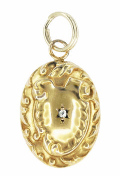 Oval Antique Victorian Rose Cut Diamond Pendant in 14 Karat Gold