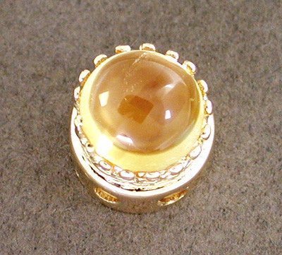 Cabochon Citrine Crown Slide in 14 Karat Gold