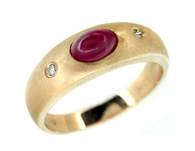 Cabochon Ruby and Diamond Ring in 14 Karat Rose ( Pink ) Gold