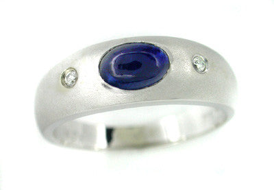 Cabochon Blue Sapphire and Diamond Ring in 14 Karat White Gold