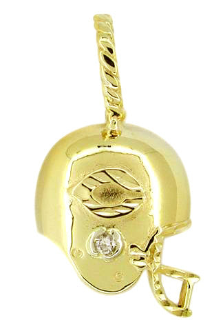 Chicago Bears Helmet Charm with Diamond in 14 Karat Gold