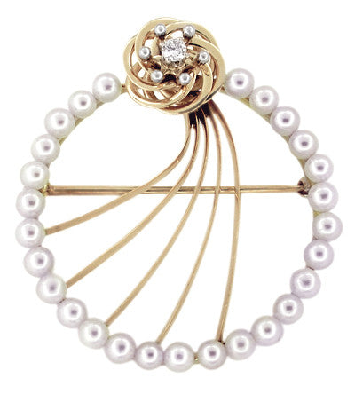 Vintage Mid Century Modern Retro Diamond and Pearls Circle Brooch in 14 Karat Gold