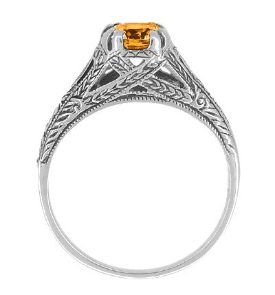 Vintage Style Filigree Natural Citrine Promise Ring in Sterling Silver - Item: SSR6 - Image: 1