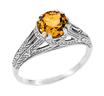 Vintage Style Filigree Natural Citrine Promise Ring in Sterling Silver