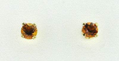 Citrine Stud Earrings in 14 Karat Yellow Gold