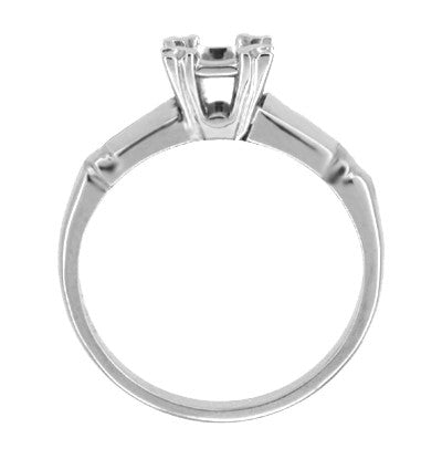Mid Century 1/3 Carat Engagement Ring Mount in 14 Karat White Gold - Item: R308 - Image: 1