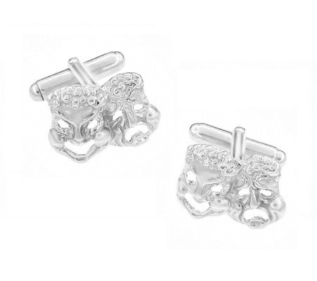 Comedy and Tragedy Mask Cufflinks in Sterling Silver