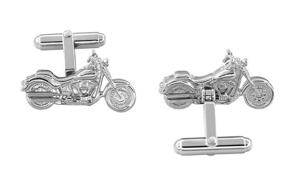 Cruiser Motorcycle Cufflinks in Sterling Silver - Item: SCL103 - Image: 1