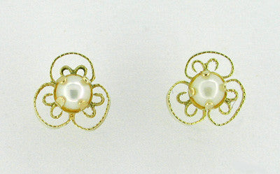 Dainty Pearl Scroll Stud Earrings in 14 Karat Gold