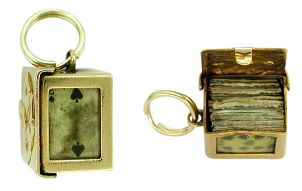 Deck of Cards Movable Charm in 14 Karat Gold - Item: C131 - Image: 1