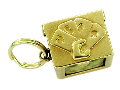 Deck of Cards Movable Charm in 14 Karat Gold