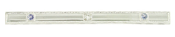 Diamond and Sapphire Vintage Art Deco Engraved Bar Brooch in 14 Karat White Gold