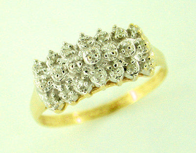 Diamond Cluster Row Ring in 10 Karat Gold