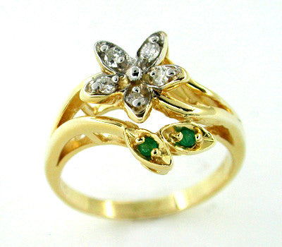 Diamond and Emerald Set Flower Ring in 14 Karat Gold