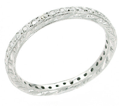 Diamond Set Hand Engraved Wedding Band in Platinum