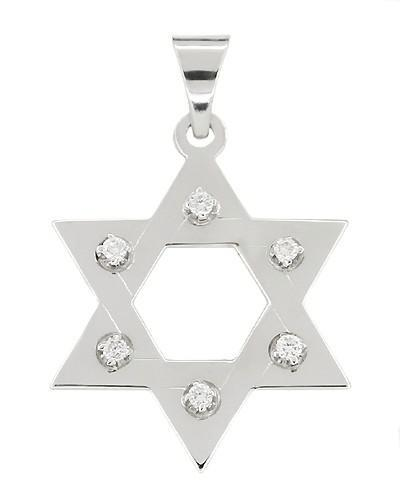 Diamond Star of David Pendant in 14 Karat White Gold