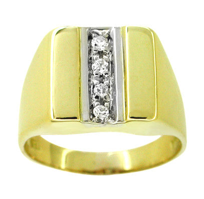 Diamond Straightline Vintage Ring in 18 Karat White and Yellow Gold