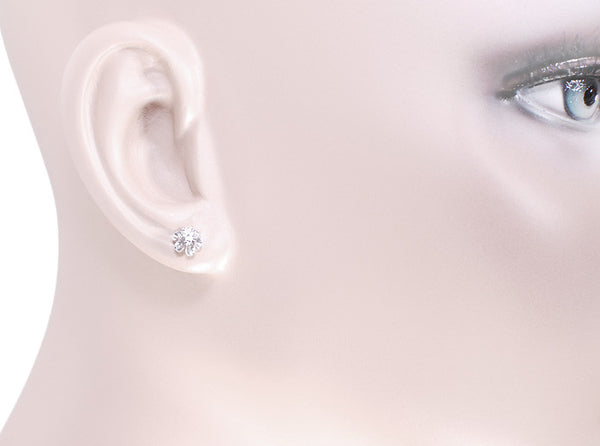 Buttercup Diamond Stud Earrings in 14 Karat White Gold - Item: E108W - Image: 2