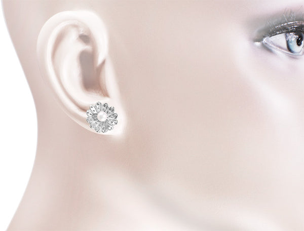 Pearl Stud Victorian Sunflower Earrings in 14K White Gold - Item: E121W - Image: 1