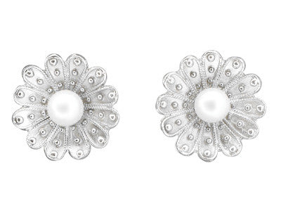 Pearl Stud Victorian Sunflower Earrings in 14K White Gold