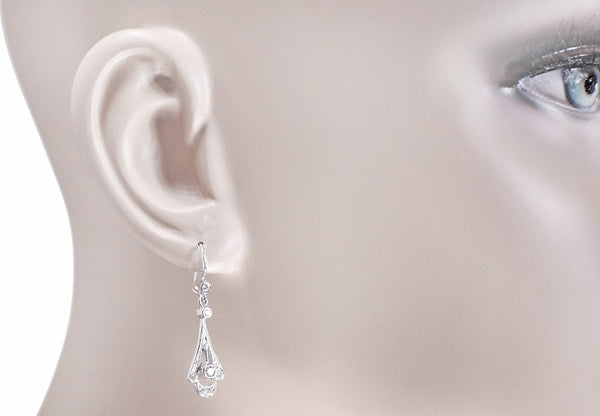 Vintage Inspired 1920's Art Deco 18 Karat White Gold and Diamond Drop Earrings - Item: E122 - Image: 2
