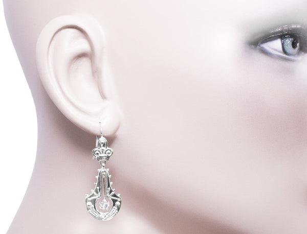 Victorian Double Dangle Drop Diamond Earrings in 14 Karat White Gold - Item: E124W - Image: 1