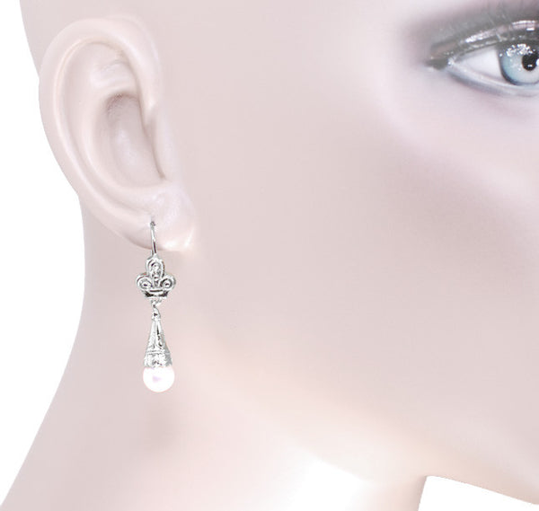 Victorian Pearl Drop Earrings in 14 Karat White Gold - Item: E125W - Image: 2