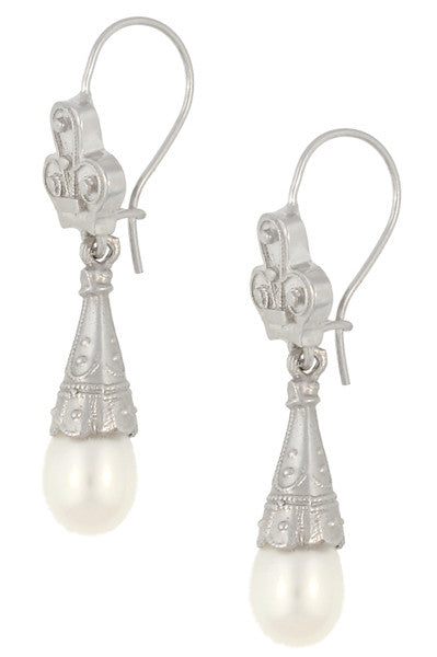 Victorian Pearl Drop Earrings in 14 Karat White Gold - Item: E125W - Image: 1