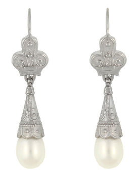 Victorian Pearl Drop Earrings in 14 Karat White Gold