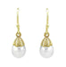 Victorian Engraved Leaves Pearl Drop Earrings in 14 Karat Yellow Gold