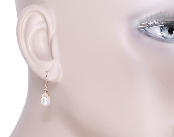 Art Deco Pearl Drop 14 Karat Rose Gold Earrings - Item: E135R - Image: 2