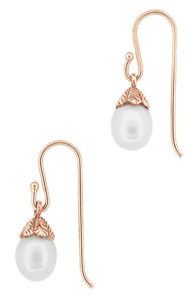 Art Deco Pearl Drop 14 Karat Rose Gold Earrings - Item: E135R - Image: 1