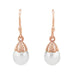 Art Deco Pearl Drop 14 Karat Rose Gold Earrings