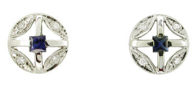 Art Deco Square Sapphire and Diamond Earrings in 14 Karat White Gold