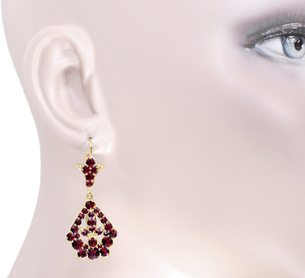 Victorian Bohemian Garnet Leaf Drop Earrings in 14 Karat Yellow Gold and Sterling Silver Vermeil - Item: E139S - Image: 2