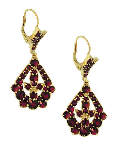 Victorian Bohemian Garnet Leaf Drop Earrings in 14 Karat Yellow Gold and Sterling Silver Vermeil - Item: E139S - Image: 1