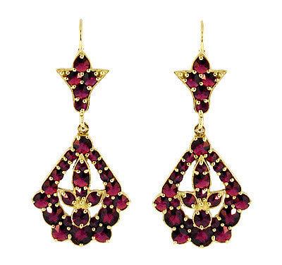 Victorian Bohemian Garnet Leaf Drop Earrings in 14 Karat Yellow Gold and Sterling Silver Vermeil
