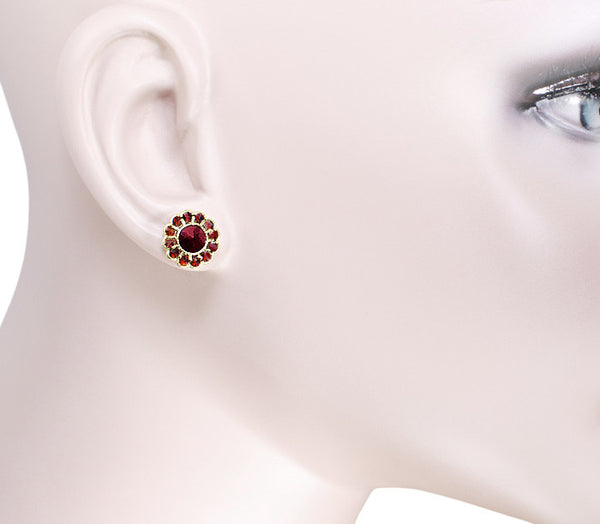 Bohemian Garnet Flower Blossom Stud Earrings in 14 Karat Yellow Gold and Sterling Silver Vermeil - Item: E142POST - Image: 1