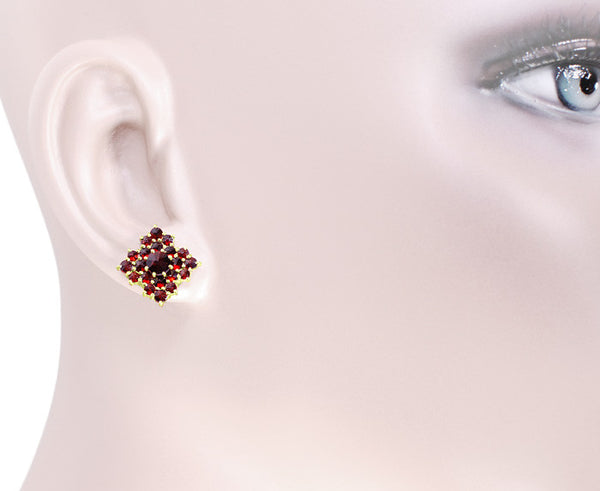 Victorian Bohemian Garnet Galaxy Square Stud Earrings in 14 Karat Yellow Gold and Sterling Silver Vermeil - Item: E143S - Image: 2