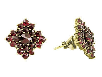 Victorian Bohemian Garnet Galaxy Square Stud Earrings in 14 Karat Yellow Gold and Sterling Silver Vermeil - Item: E143S - Image: 1