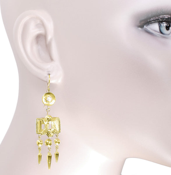 Victorian Engraved Dangle Pearl Earrings in 15 Karat Yellow Gold - Item: E149 - Image: 1