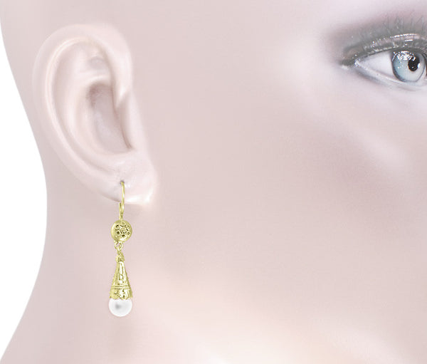 Victorian Pearl Drop Earrings in 14 Karat Yellow Gold - Item: E150 - Image: 1
