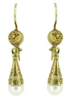 Victorian Pearl Drop Earrings in 14 Karat Yellow Gold