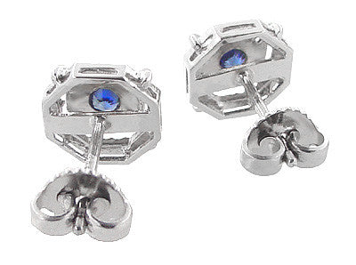 Art Deco Blue Sapphire Stud Earrings in 18 Karat White Gold - Item: E152 - Image: 2