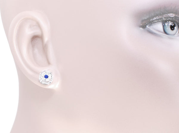 Art Deco Sapphire Stud Earrings in Platinum - Item: E152P - Image: 3