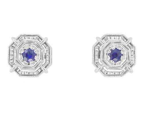 Art Deco Sapphire Stud Earrings in Platinum